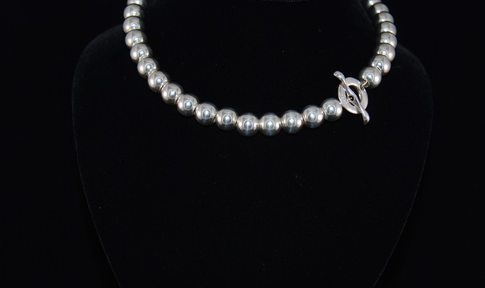 Large Silver Bead Necklace full shot